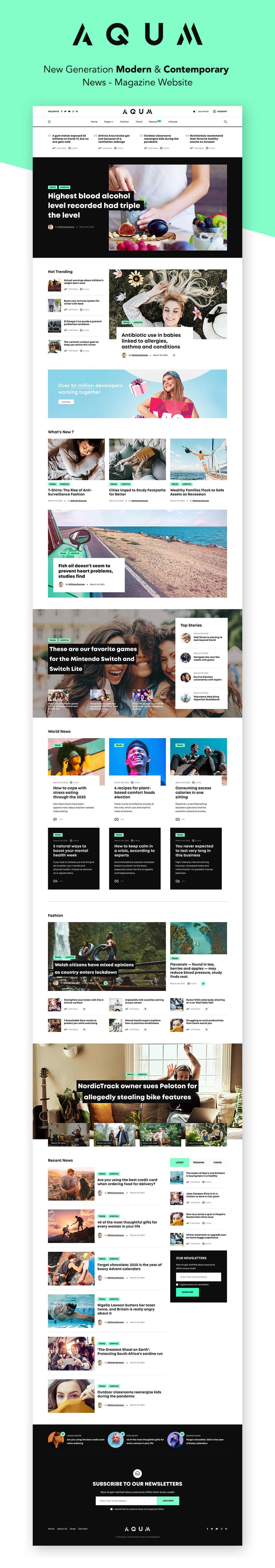Aqum | Contemporary News and Magazine HTML Template - 1
