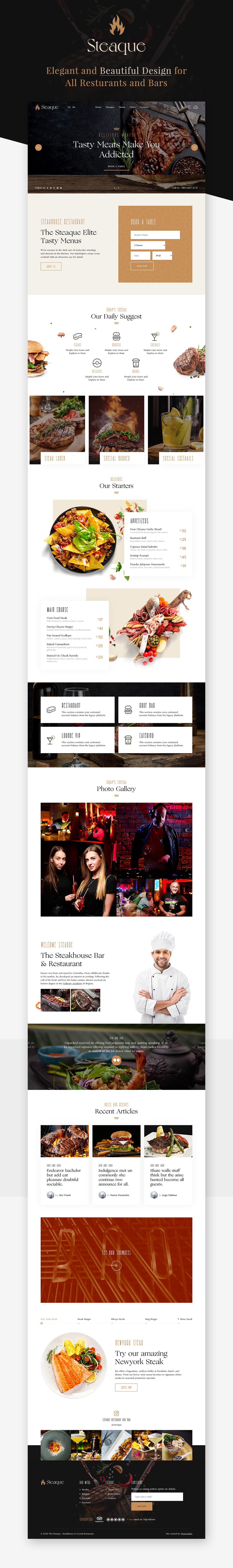 Steaque | Steak House and Coctail Bar HTML Template - 1