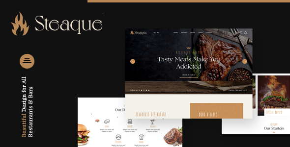Steaque | Steak House and Cocktail Bar WordPress Theme